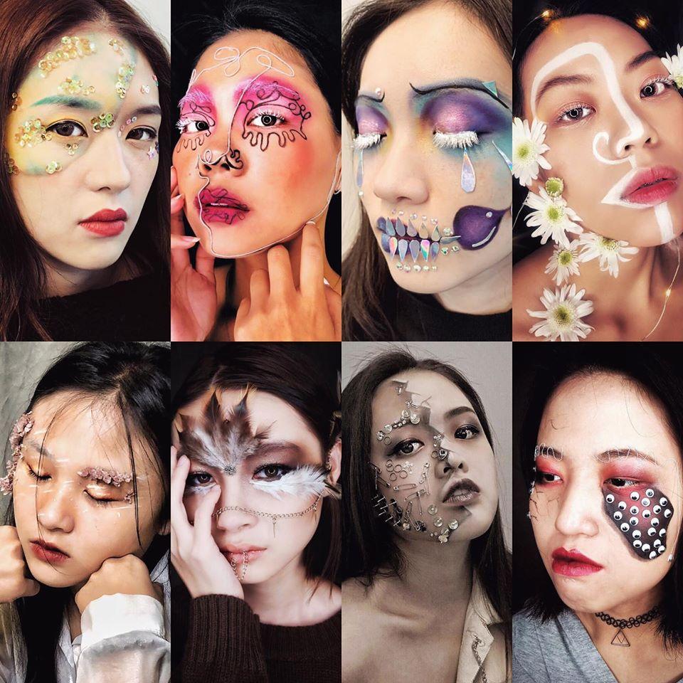 進階彩妝課程-異材質主題創意妝容學生作品