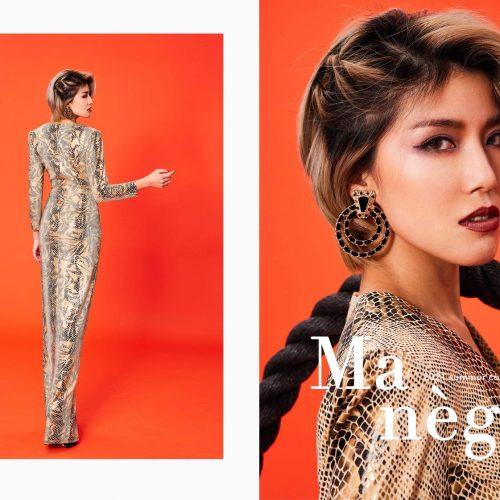 [商業攝影推薦] 時尚雜誌封面 蛇皮紋低胸禮服